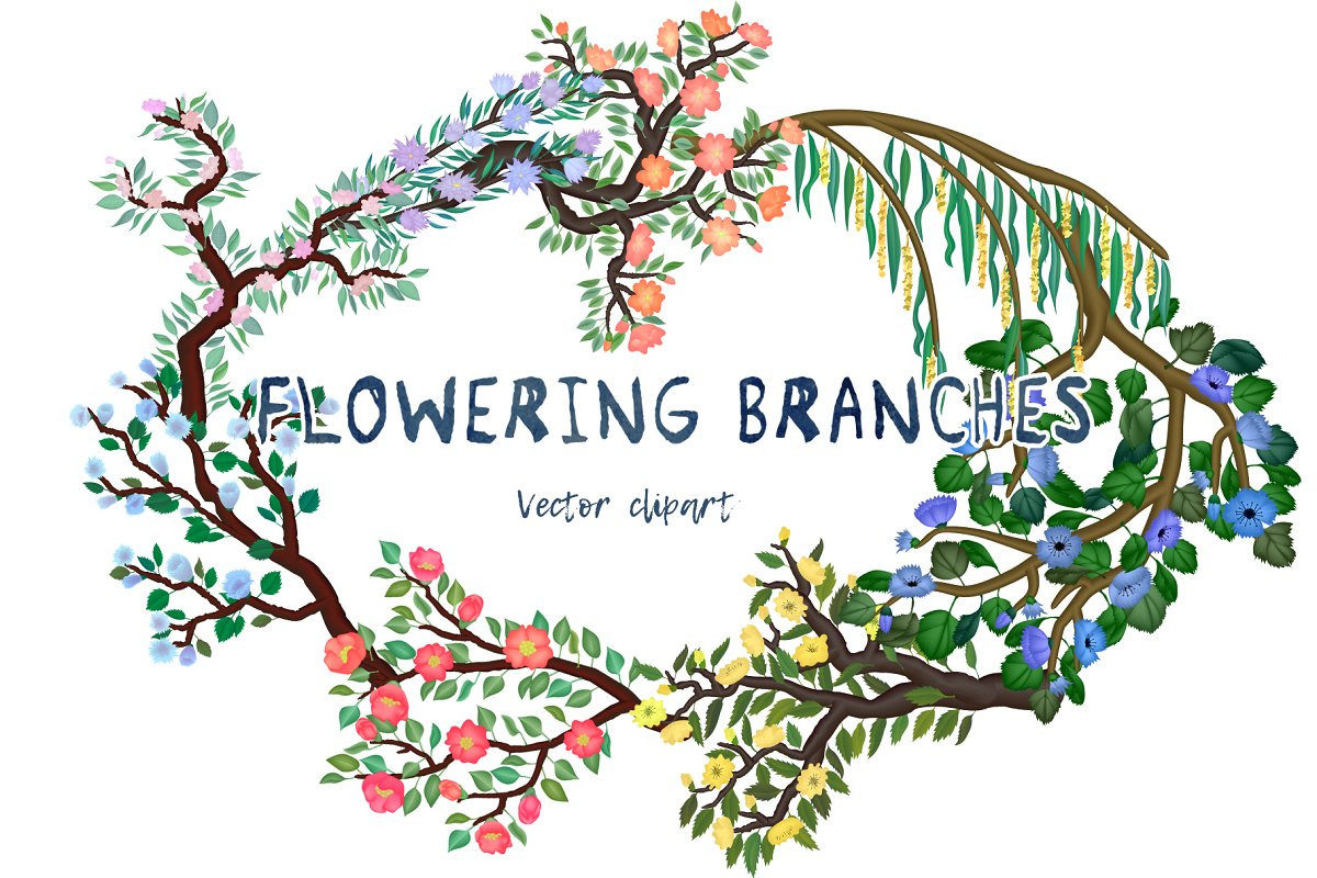 Flowering branches. Vector clipart.