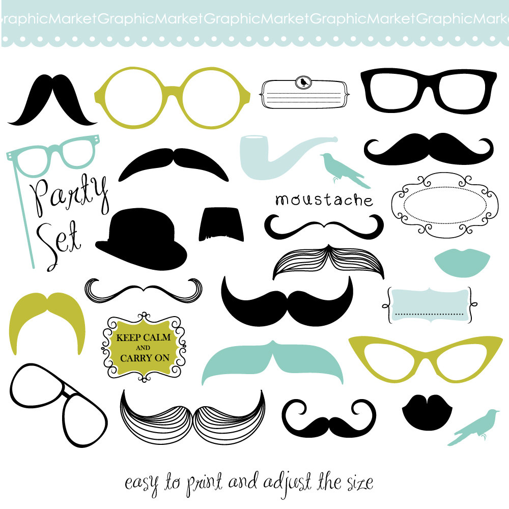 Mustache, Spectacles and Lips Kiss Digital Clipart Set. DIY Photo.