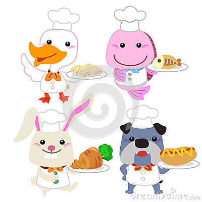 Cute Cartoon Animal Cook Collection Royalty Free Stock Image.