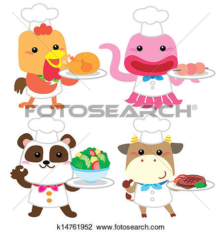 Clipart of cute cartoon animal cook collection k14761952.