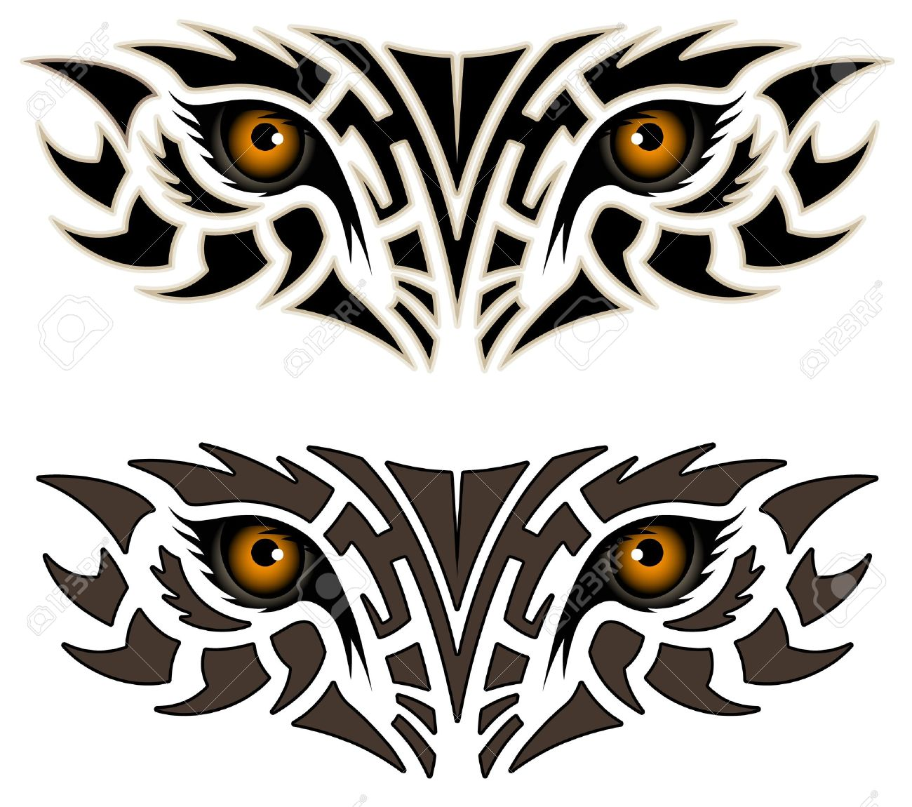 Eyes Of An Animal, Tribal Tattoo Royalty Free Cliparts, Vectors.