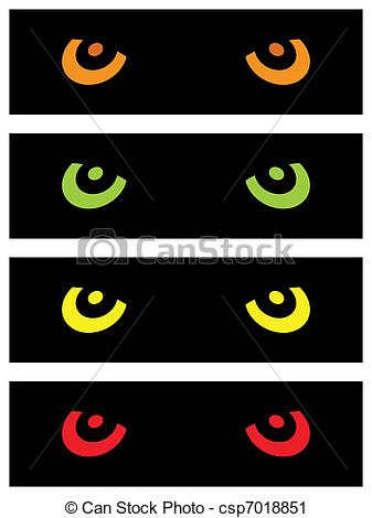 Clip Art Vector of Evil Animal Eyes.