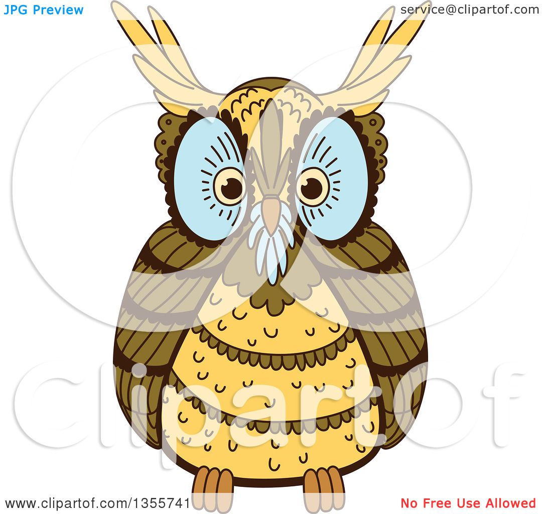Clipart of a Brown Owl with Blue Around His Eyes and Nose.