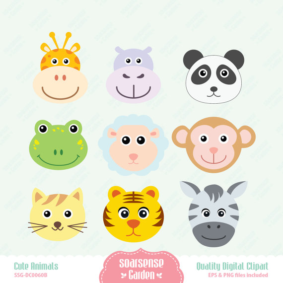 Cute Animal Faces Digital Clipart.
