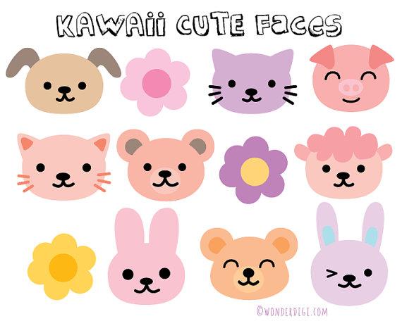 kawaii Clipart Animal Face Clip Kawaii Animal Heads Clip.