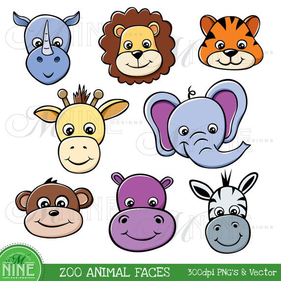 ZOO ANIMAL FACES Clipart Illustrations Digital Clip Art, Instant.