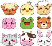Animal Faces Clip Art.