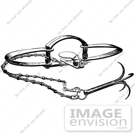 Clipart Of A Steel Animal Trap For Bears In Black And White.