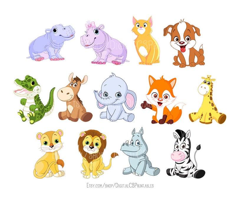 Cute Animal clipart Kids clipart Cute clipart Safari Animal clipart animal  png Wild animals kids clip art Cute clip art.