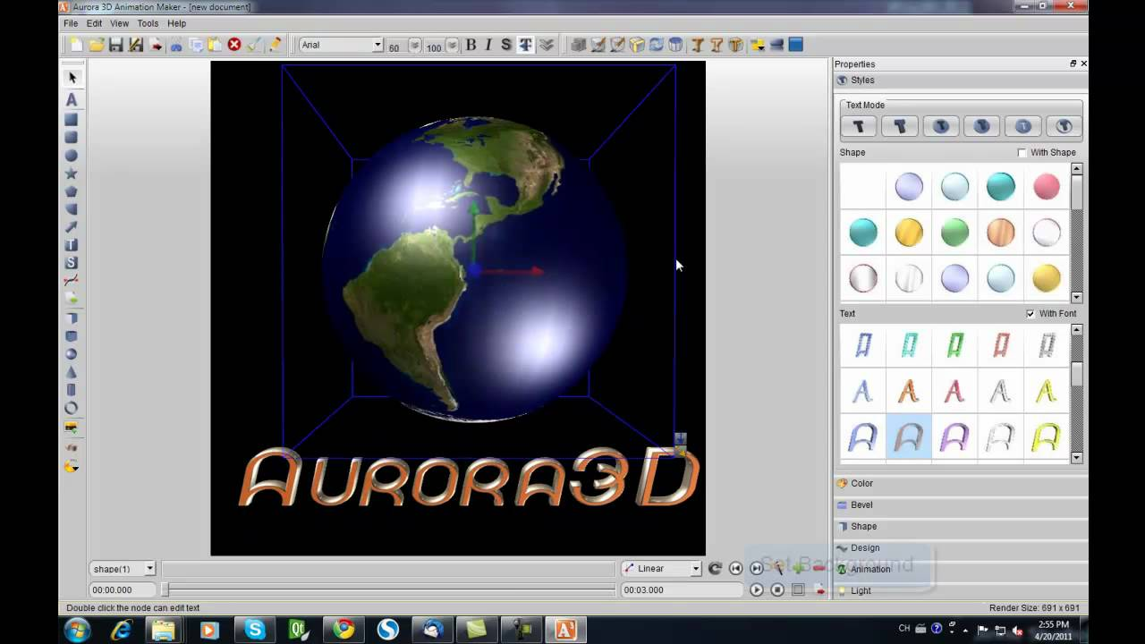3d gif animation with aurora 3d Text & Logo Maker.