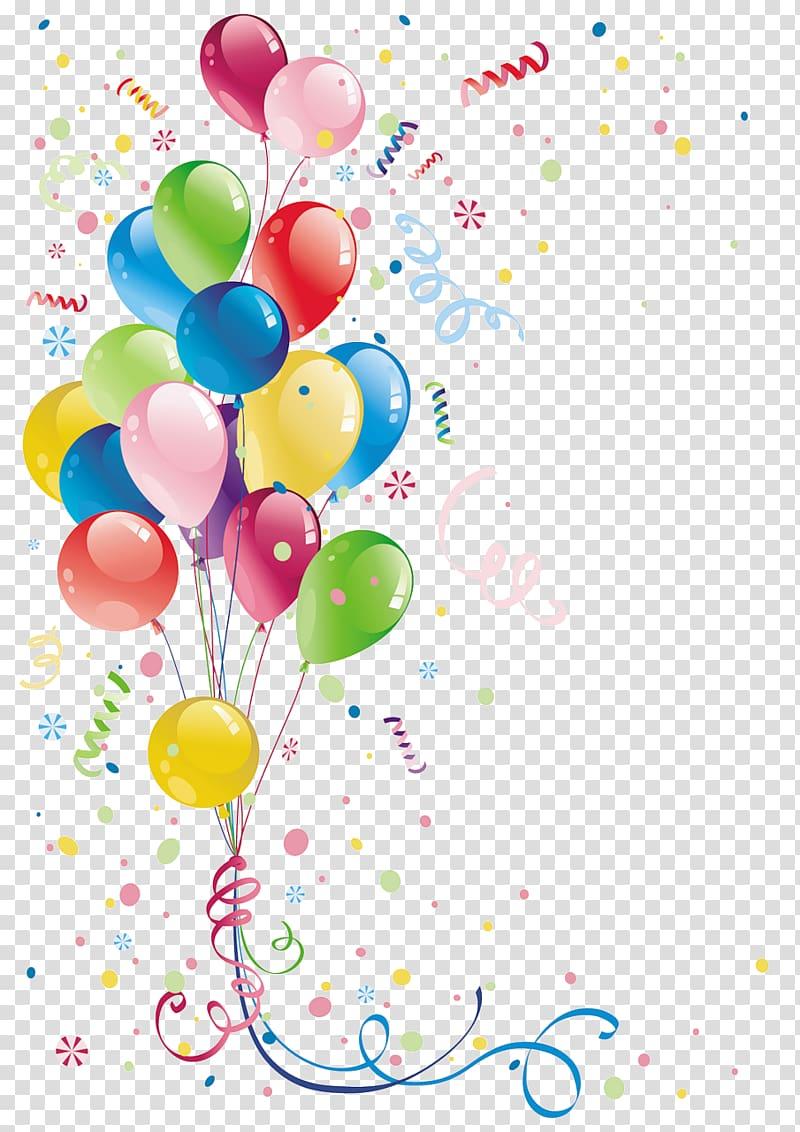 Balloon Party Birthday , joyeux anniversaire transparent.