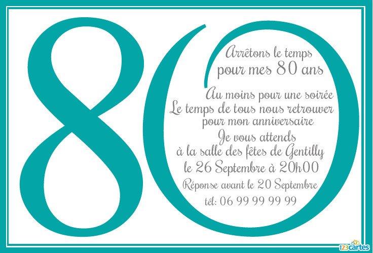 Invitation anniversaire 80 ans en chiffres.