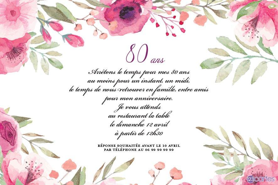 Invitations anniversaire 80 ans (Gratuits).