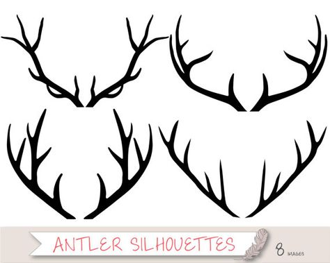 Antler Silhouette Clipart, Tribal Clipart, Deer Clipart Clip.