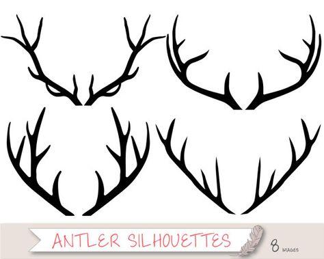 Antler Silhouette Clipart, Tribal Clipart, Deer Clipart Clip.