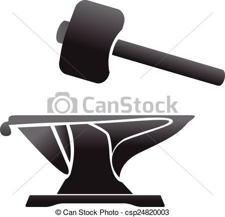 Vector Clipart of anvil blacksmith symbol vector illlustration.