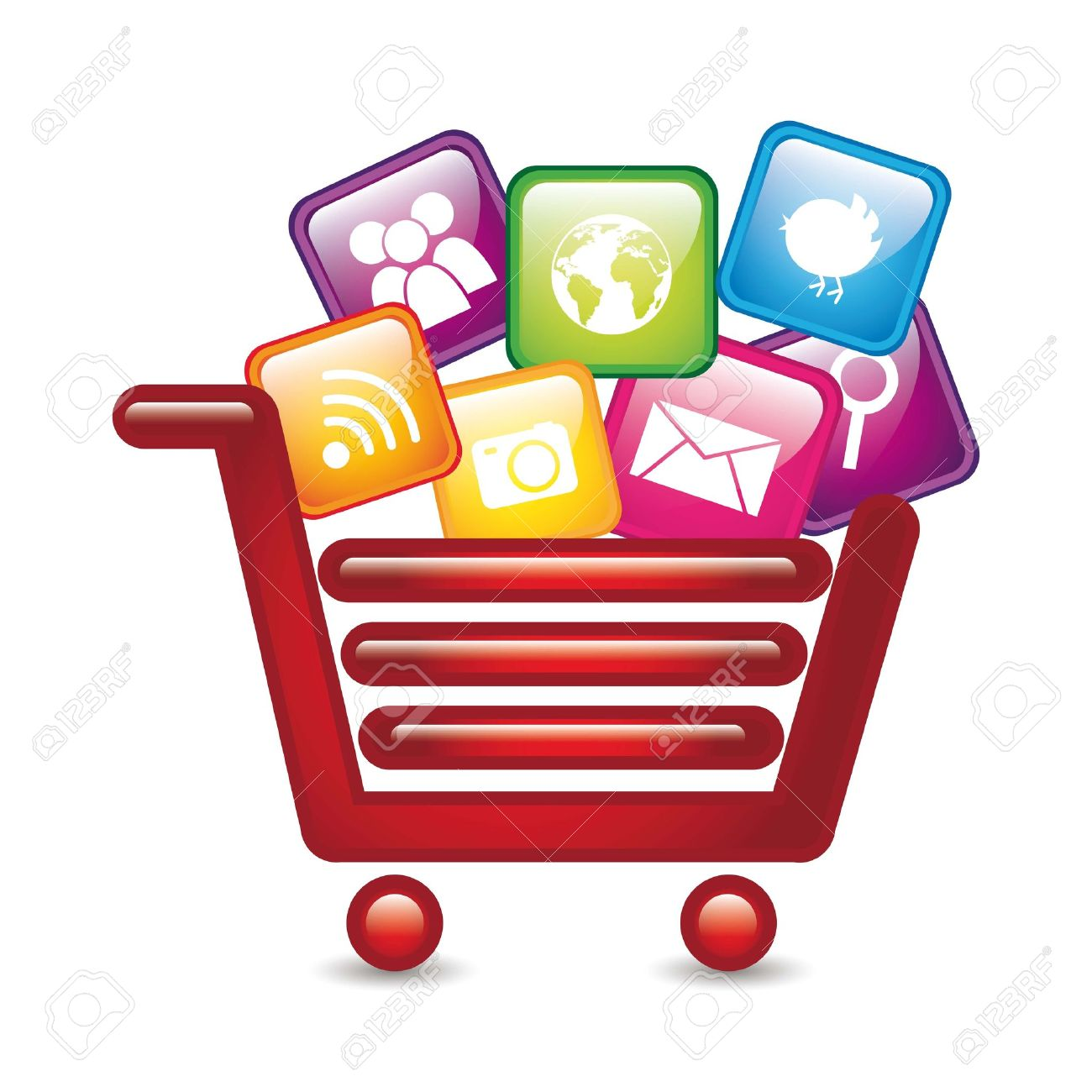 Apps Over Shopping Cart, App Store. Vector Illustration Royalty.