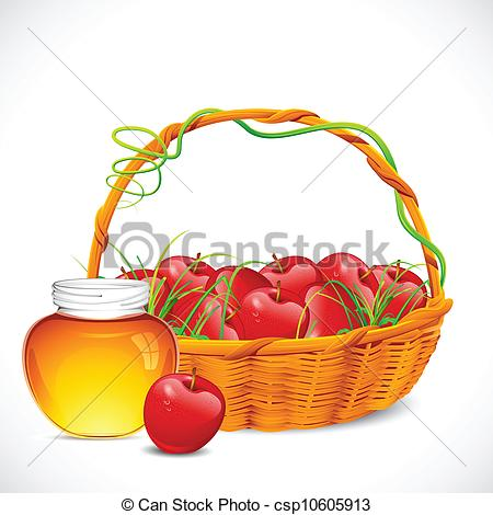 Vector Clip Art of Honey and Apple.