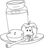Clipart of Rosh Hashanah Honey With Apples Coloring Page k17975883.