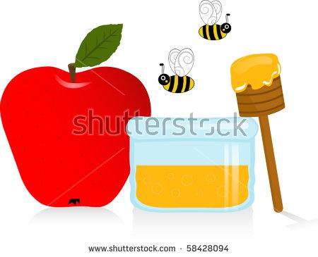 Apple And Honey Jewish New Year Symbols Vector Illustration.