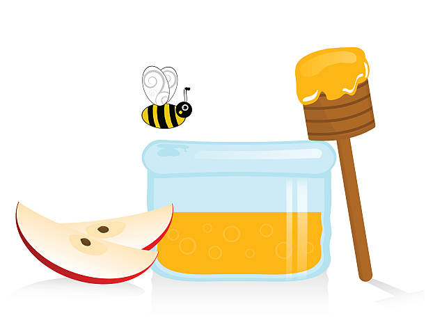 Honey And Apple For Rosh Hashana Clip Art, Vector Images.