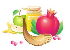 Honey Apple Pomegranate Horn Stock Illustrations.