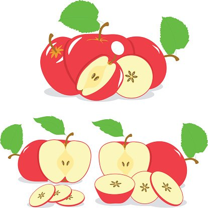 Apple Slices, Collection of Vector Illustrations ON A Transparent.