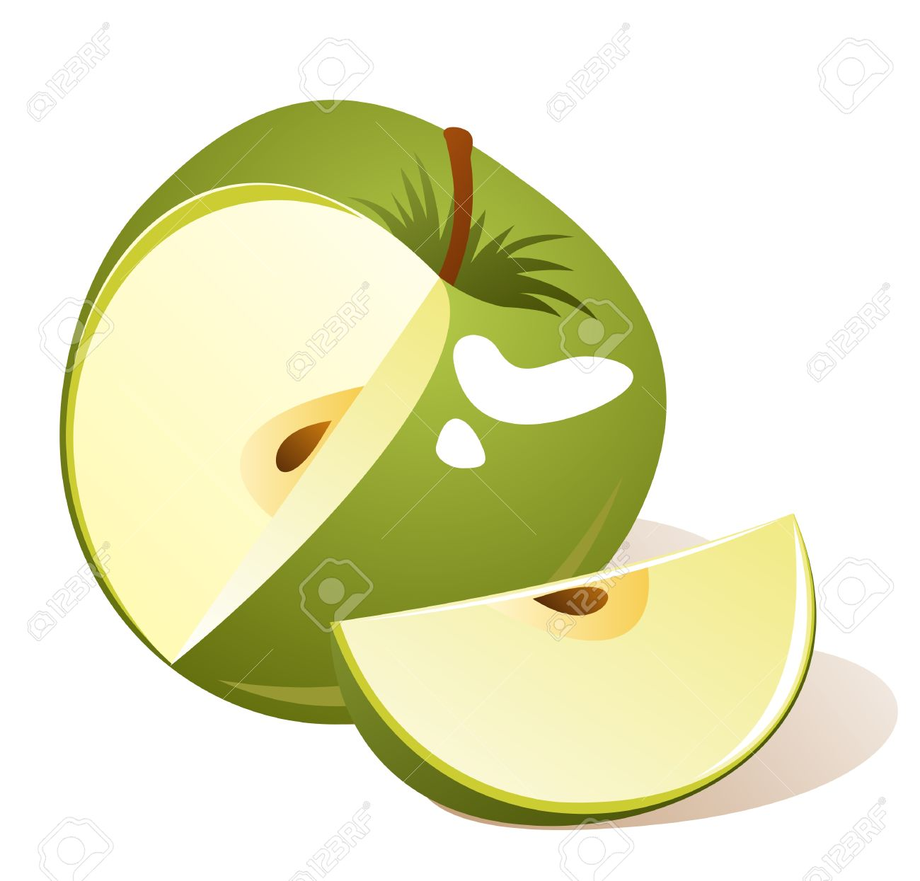 Stylized green apple with slice isolated on a white background..