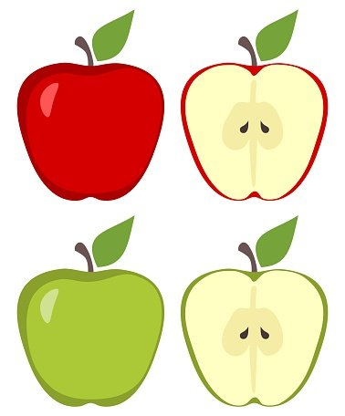 Ripe Apple Fruit and Apple Slices Isolated ON White premium clipart.