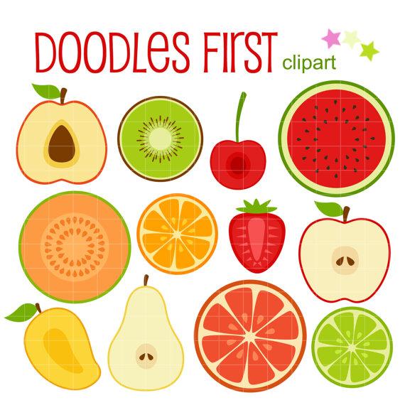 Fruit Slices Digital Clip Art for Scrapbooking Card Making.