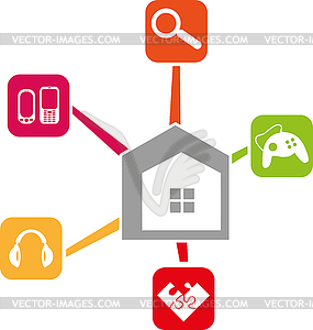 Home and Apps, Multimedia, Internet, Logo, Icon.