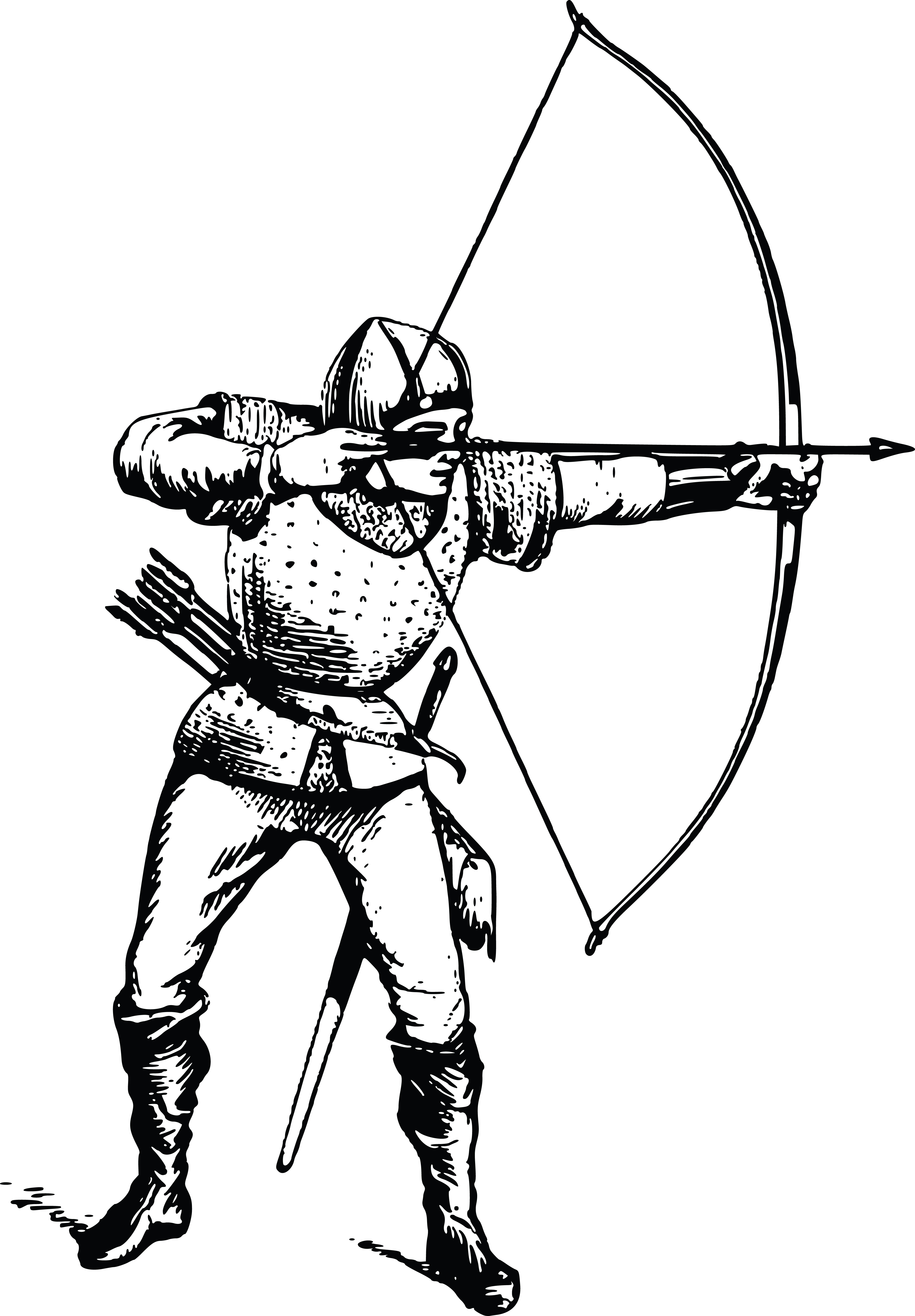 Free Clipart Of A black and white male archer.