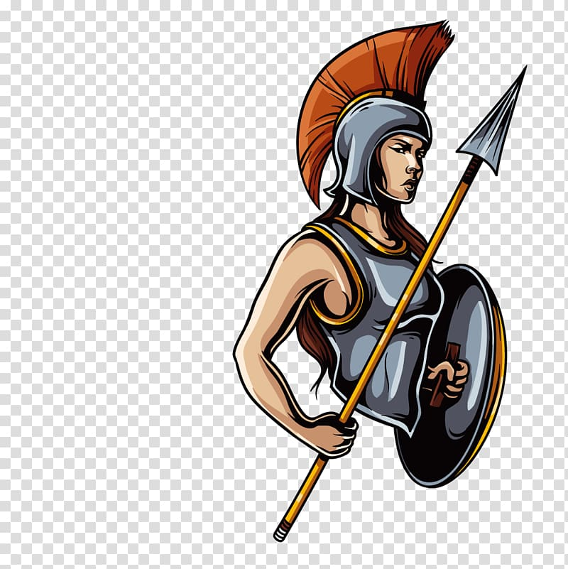Woman wearing armor holding shield and weapon , Ares Greek.