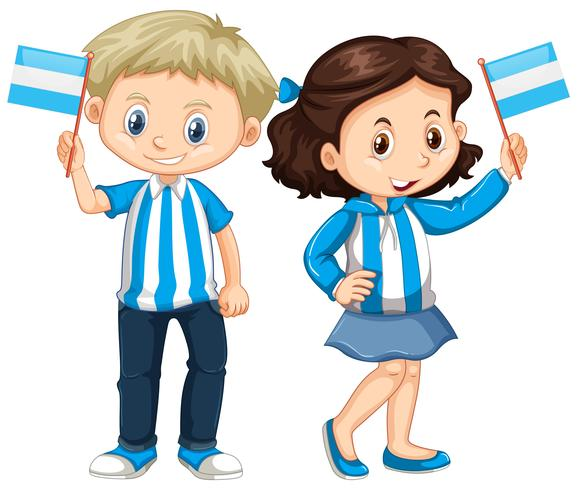 Boy and girl holding Argentina flag.