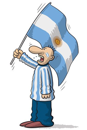 Argentina soccer supporter Clipart Image.
