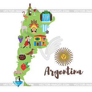 Argentina map with Argentinian national cultural.