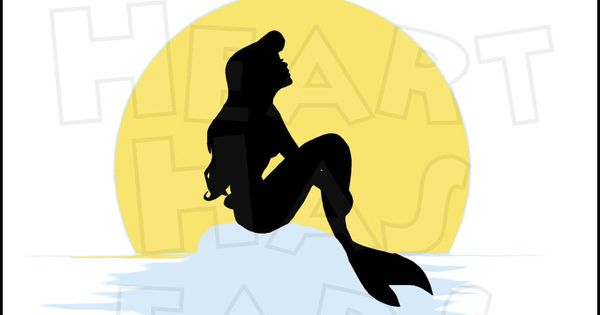 The little mermaid silhouette with moon digital clip art by My.