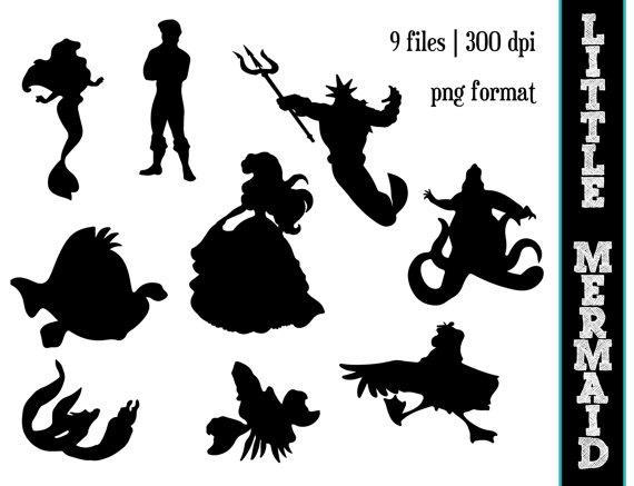 The Little Mermaid Silhouettes // Disney Princess Ariel Silhouette.