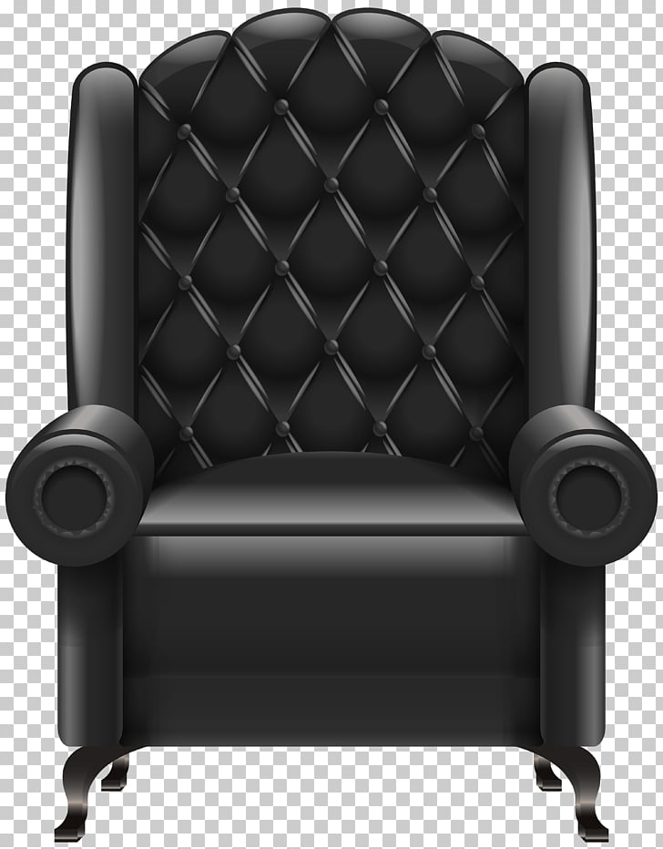 Chair Table , Black Armchair Transparent , quilted black.