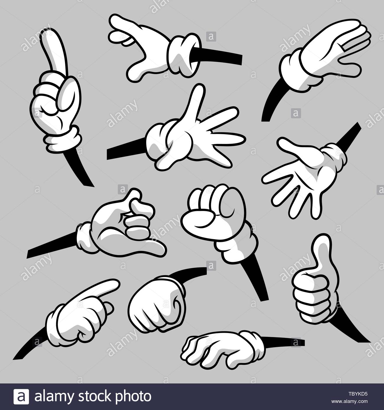 Cartoon hands with gloves icon set isolated. Vector clipart.
