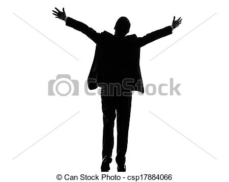 Stock Image of rear view back business arms outstretched man.