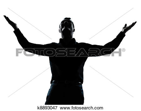 Picture of one business man happy arms outstretched silhouette.