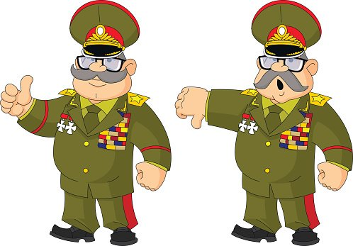 Cartoon Russian general content and not agree. Clipart Image.
