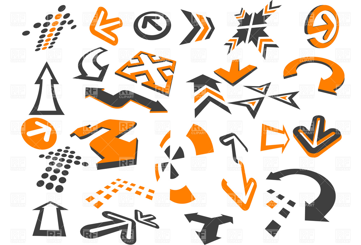 Arrows in different styles and shapes on the white Stock Vector Image.