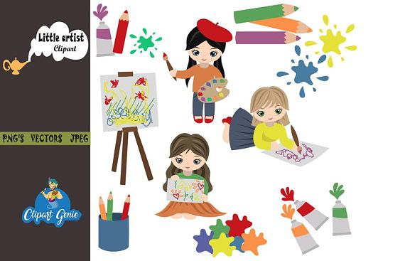 Little artist, Girl drawing clipart, drawing clipart, school clipart.