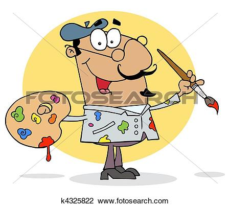Clipart of Hispanic Cartoon Artist Painter k4325822.