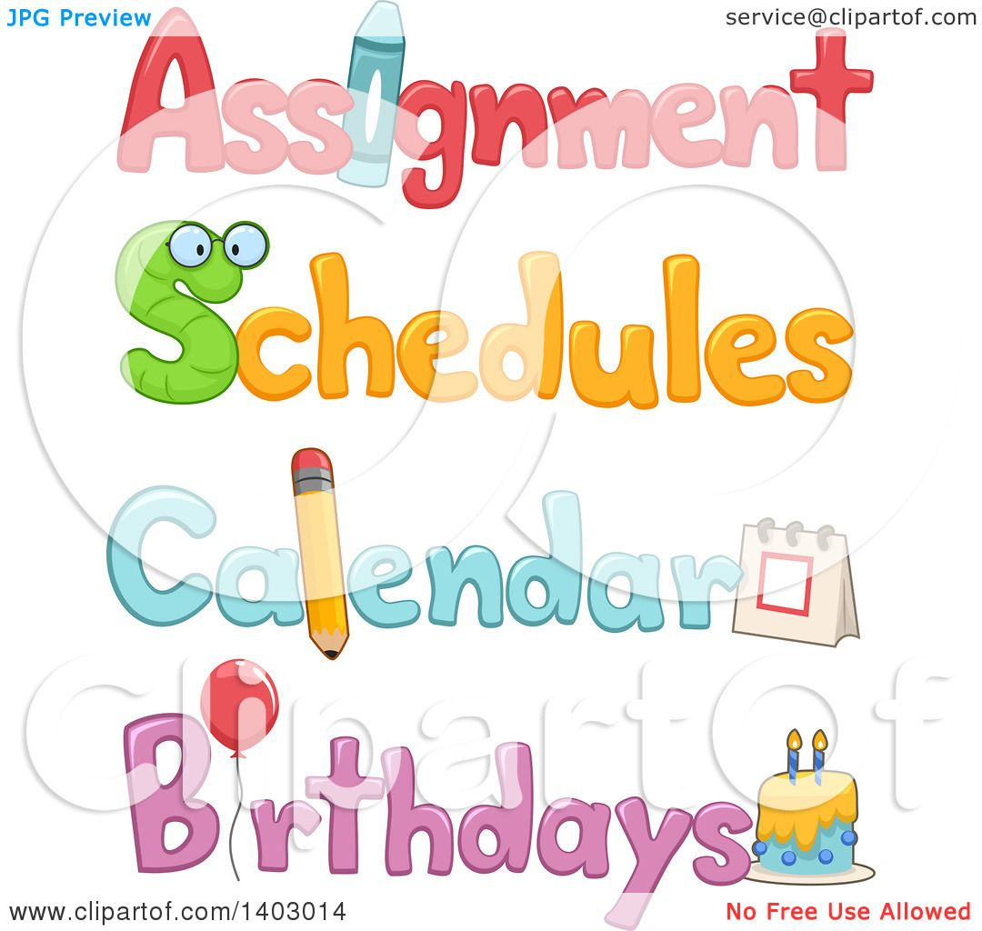 Clipart of Assignment, Schedule, Calendar and Birthdays Text.