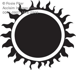 Clip Art Illustration Of A Black Tribal Sun.
