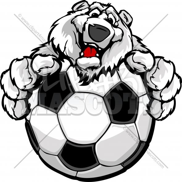 Cute Polar Bear Soccer Graphic Vector Cartoon.