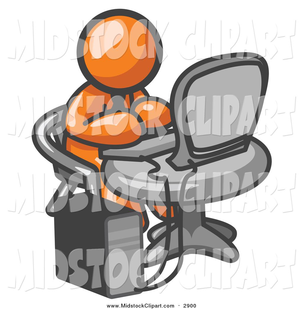 Clip Art of a Working Orange Business Man Using a Desktop Computer.